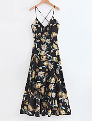 baratos -Mulheres Básico Chifon Vestido - Estampado, Floral Longo