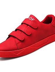 baratos -Homens sapatos Couro de Porco Outono Conforto Tênis Preto / Cinzento / Vermelho