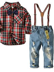 Недорогие -малыш Мальчики В клетку Длинный рукав Набор одежды