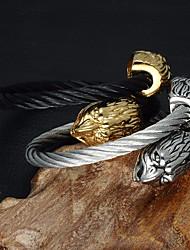 baratos -Homens Fashion Pulseiras Algema / Enrole Pulseiras - Inoxidável Eagle Importante, Europeu, Na moda Pulseiras Dourado / Prata Para Carnaval / Rua