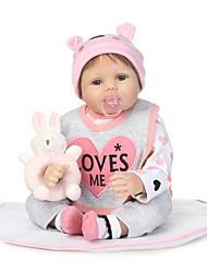 Недорогие -NPKCOLLECTION Куклы реборн Девочки 24 дюймовый как живой Ручные прикладные ресницы Искусственные имплантации Голубые глаза Детские Девочки Игрушки Подарок / Естественный тон кожи / Головка дискеты