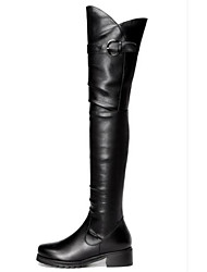 cheap -Women's Shoes Nappa Leather Spring Fashion Boots Boots Chunky Heel Round Toe Over The Knee Boots Black