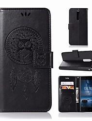 Недорогие -Кейс для Назначение Nokia Nokia 5.1 Кошелек / Бумажник для карт / со стендом Чехол Сова Твердый Кожа PU для Nokia 5.1