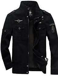 cheap -Men's Basic / Military Jacket - Solid Colored, Embroidered