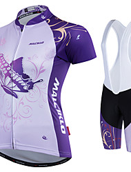 cheap -Malciklo Women's Cycling Jersey with Shorts - White Black Bike Padded Shorts / Chamois Jersey Clothing Suits Polyester
