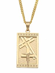 cheap -Men's Vintage Style / Cuban Link Pendant Necklace / Chain Necklace - Titanium Steel, Stainless Cross Stylish, European, Hip-Hop Cool Gold, Silver 60 cm Necklace Jewelry 1pc For Gift, Street