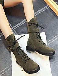 Недорогие -Жен. Обувь Замша Наступила зима Модная обувь Ботинки На плоской подошве Круглый носок Сапоги до колена Пряжки Черный / Зеленый / Миндальный