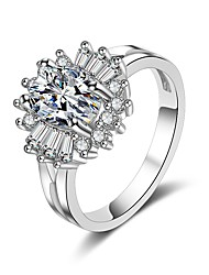 cheap -Women's Cubic Zirconia 3D Band Ring - Copper Fashion 5 / 6 / 7 / 8 / 9 Silver For Gift Evening Party