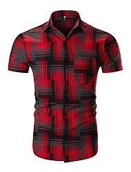 Недорогие -Муж. С принтом Рубашка Классический Контрастных цветов / В клетку