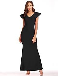 Недорогие -Жен. Для вечеринок Винтаж Изысканный Элегантный стиль Тонкие Оболочка Платье - Однотонный V-образный вырез Макси