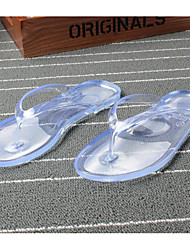 Недорогие -Жен. Обувь ПВХ Весна лето Удобная обувь / Прозрачный обуви Тапочки и Шлепанцы На плоской подошве Открытый мыс Кристаллы Черный / Зеленый / Розовый