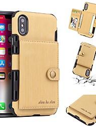 Недорогие -Кейс для Назначение Apple iPhone X / iPhone 8 / iPhone XS Кошелек / Бумажник для карт / Защита от удара Кейс на заднюю панель Однотонный Твердый Кожа PU для iPhone XS / iPhone XR / iPhone XS Max