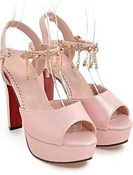 baratos -Mulheres Sapatos Couro Ecológico Primavera Conforto Saltos Salto Agulha Bege / Rosa claro / Vermelho Escuro / Casamento