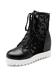 povoljno -Žene Cipele Sintetika Proljeće ljeto Modne čizme Čizme Ravna potpetica Okrugli Toe Obala / Crn / Badem / Zabava i večer