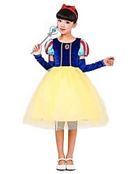 baratos -Princesa Roupa Para Meninas Dia Das Bruxas / Carnaval / Dia da Criança Festival / Celebração Trajes da Noite das Bruxas Amarelo Sólido / Halloween Dia Das Bruxas