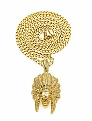 cheap -Men's Vintage Style / Cuban Link Pendant Necklace / Chain Necklace - Stainless Skull, Feather Stylish, European, Hip-Hop Gold, Silver 70 cm Necklace 1pc For Carnival, Street