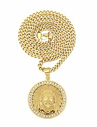 cheap -Men's AAA Cubic Zirconia Sculpture Pendant Necklace - Stainless Head Stylish, Hip-Hop Gold 65.6 cm Necklace 1pc For Street, Holiday