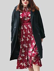 billige -Dame Ensfarvet Vintage Frakke