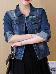 Недорогие -Жен. Джинсовая куртка Классический - Человек С принтом