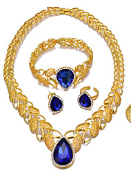 cheap -Women's Layered Jewelry Set - 18K Gold Plated Ethnic Include Bracelet Bangles / Drop Earrings / Pendant Necklace White / Orange / Blue For Engagement / Valentine / Ring