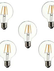 abordables -5pcs 4 W 360 lm E26 / E27 Ampoules à Filament LED G80 4 Perles LED COB Décorative Blanc Chaud 220-240 V