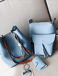 baratos -Mulheres Bolsas PU Conjuntos de saco Conjunto de bolsa de 4 pcs Ziper Marron / Cinzento Escuro / Azul Céu