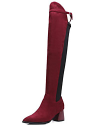 cheap -Women's Shoes Suede Fall & Winter Fashion Boots Boots Chunky Heel Pointed Toe Over The Knee Boots Buckle Black / Red / Party & Evening