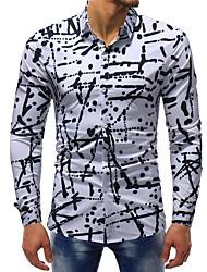 Недорогие -Муж. С принтом Рубашка Хлопок Тонкие Классический Горошек / Контрастных цветов Белый / Длинный рукав