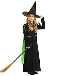 Недорогие -ведьма Костюм Девочки Детские Хэллоуин Хэллоуин Карнавал День детей Фестиваль / праздник Полиэстер Инвентарь Черный Однотонный Halloween