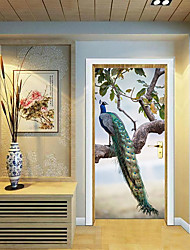 Недорогие -Дверные наклейки - 3D наклейки Пейзаж / Животные Гостиная / Спальня