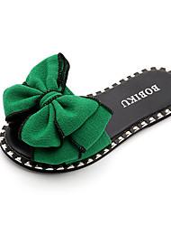 Недорогие -Девочки Обувь Полотно Лето Удобная обувь Тапочки и Шлепанцы Бант для Для подростков / Дети Черный / Зеленый / Розовый / Ботинки