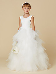 cheap -Ball Gown Floor Length Flower Girl Dress - Lace / Tulle Sleeveless Scoop Neck with Cascading Ruffles by LAN TING BRIDE®