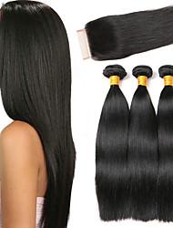 Недорогие -3 комплекта с закрытием Малазийские волосы Прямой 8A Натуральные волосы Головные уборы Удлинитель Пучок волос 8-24 дюймовый Черный Естественный цвет Ткет человеческих волос 4x4 Закрытие
