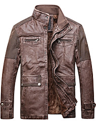 cheap -Men's Work Leather Jacket - Solid Colored Stand / Long Sleeve