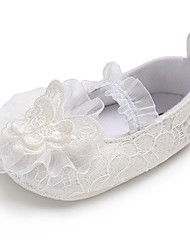 cheap -Girls' Shoes Lace Spring &  Fall Comfort / First Walkers / Crib Shoes Flats Bowknot / Gore for Baby White / Wedding / Party & Evening