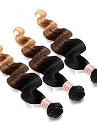 Недорогие -3 Связки Бразильские волосы Прямой Натуральные волосы Омбре 14-26 дюймовый Разноцветный Ткет человеческих волос Машинное плетение Для вечеринок / Женский / Натуральный Расширения человеческих волос