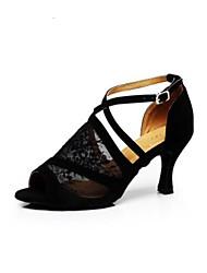 baratos -Mulheres Sapatos de Dança Latina Renda Têni Salto Grosso Sapatos de Dança Preto / Couro / Ensaio / Prática