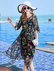 baratos -Mulheres Básico / Elegante Chifon Vestido Floral Médio