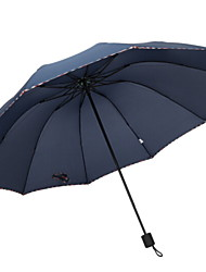 baratos -Poliéster / Aço Inoxidável Todos Novo Design / Ensolarado e chuvoso Guarda-Chuva Dobrável