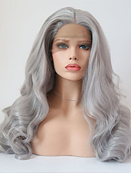 Недорогие -Синтетические кружевные передние парики Жен. Волнистый Серый Средняя часть Искусственные волосы Регулируется / Жаропрочная Серый Парик Длинные Лента спереди Серый / Да