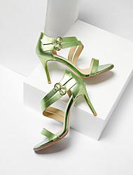 baratos -Mulheres Sapatos Pele Napa Verão Conforto Sandálias Salto Agulha Prateado / Verde / Rosa claro