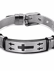 baratos -Homens Fashion Entrançado tear Bracelet Pulseira larga - Pele, Inoxidável Cruz Estiloso, Clássico, Europeu Pulseiras Prata Para Diário Rua