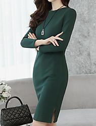 baratos -Mulheres Vintage / Moda de Rua Reto Vestido - Fenda, Sólido Altura dos Joelhos