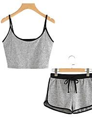abordables -Mujer Algodón Escote en U Bralette a Juego Pijamas - Espalda al Aire, Un Color / Verano