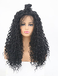 cheap -Synthetic Lace Front Wig Curly Layered Haircut Synthetic Hair Heat Resistant Black Wig Women's Long Lace Front Wig