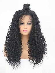 abordables -Perruque Lace Front Synthétique Kinky Curly Noir Partie libre Noir Naturel Cheveux Synthétiques 24 pouce Femme Ajustable / Résistant à la chaleur Noir Perruque Long Lace Frontale