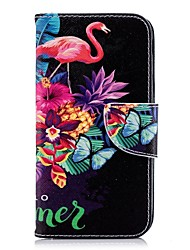 ieftine -Maska Pentru Samsung Galaxy J6 / J4 Portofel / Titluar Card / Cu Stand Carcasă Telefon Flamingo Greu PU piele pentru J7 (2017) / J6 / J5 (2017)