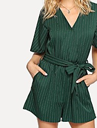cheap -Women's Cotton Romper - Solid Colored / Striped Wide Leg