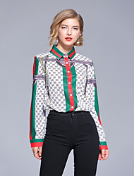 Недорогие -Жен. С принтом Рубашка Шинуазери (китайский стиль) Геометрический принт