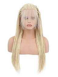 billiga -Syntetiska snörning framifrån Dam Matt Blond Fläta Syntetiskt hår Värmetåligt Blond Peruk Lång Spetsfront Blekt Blont / Ja